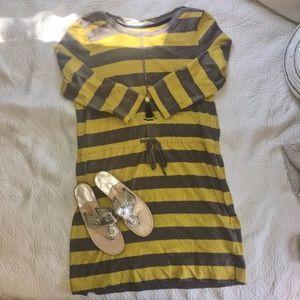 Boatneck striped day dress L NWOT